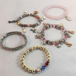 💚4/$25 breast cancer charm bowling bracelets lot